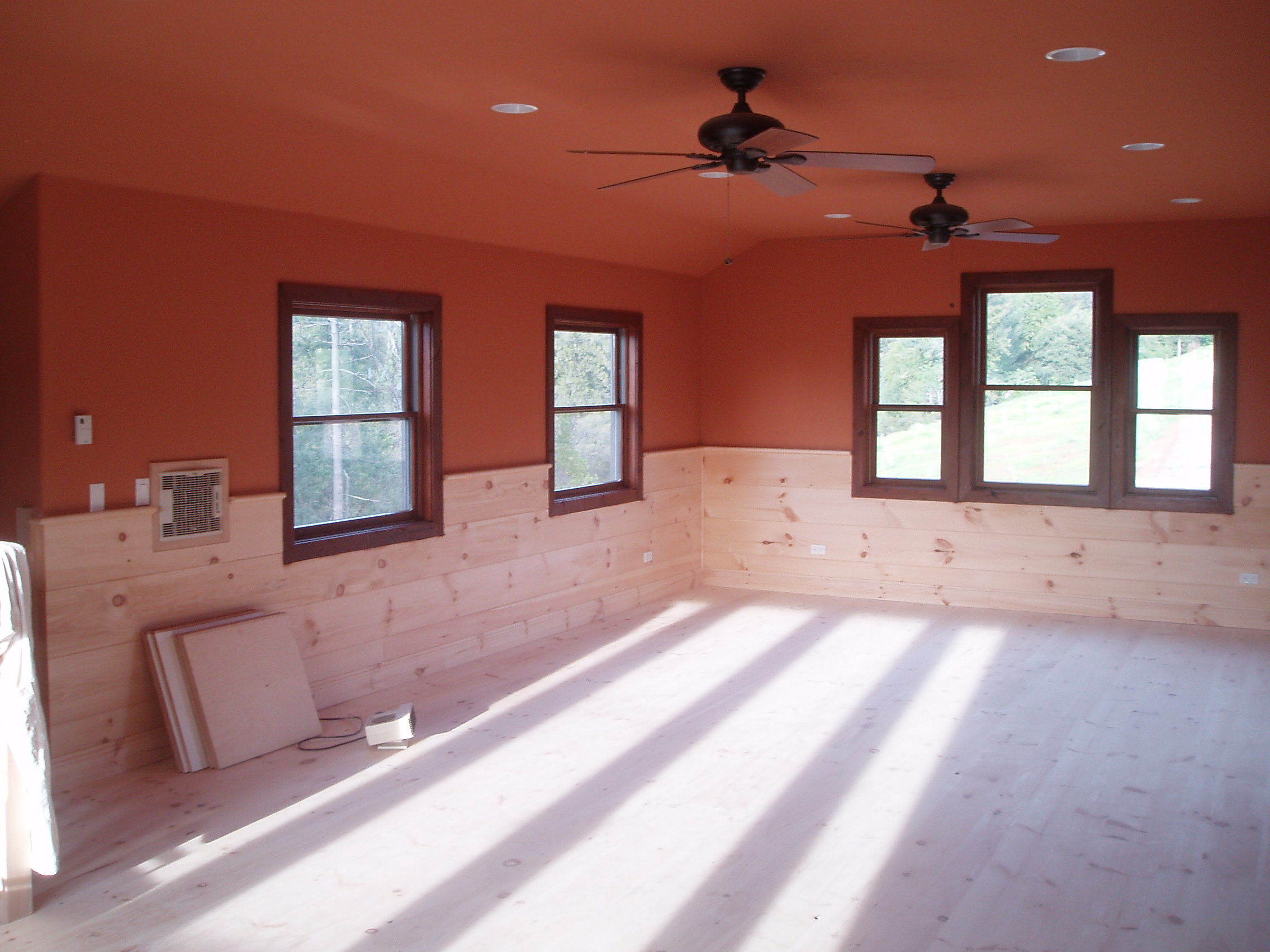 Orange walls and dark walnut stain